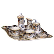 Early 20th Century French Complete Hand-Painted Faience Coffee Set From Blois