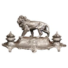 Large 19th Century French Pewter Inkwell with Lion Signed A. Bossu