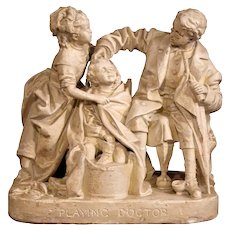 """19th Century American Cast Plaster Sculpture """"Playing Doctor"""" Signed John Rogers"""