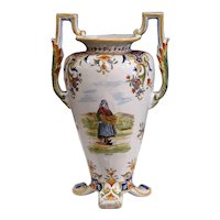 19th Century French Hand-Painted Ceramic Vase with Handles from Rouen Normandy