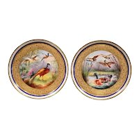Pair of 19th Century French Hand-Painted Porcelain Plates with Duck and Peacock