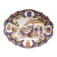 Large 19th Century French Hand-Painted Oval Faience Wall Platter from Brittany