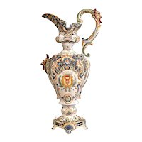 Important 19th Century French Hand-Painted Ceramic Ewer Vase from Boulogne sur Mer