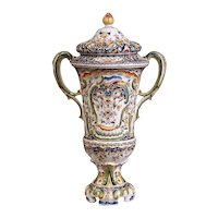 Important 19th Century French Hand Painted Ceramic Vase with Lid from Normandy