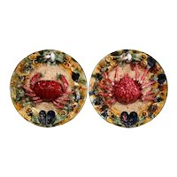 Pair of Mid-20th Century French Barbotine Wall Platters with Crabs from Brittany