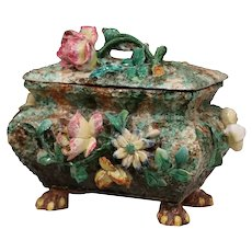 19th Century French Painted Ceramic Barbotine Decorative Box with Floral Motif