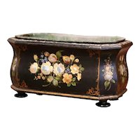 19th Century French Napoleon III Mother of Pearl and Painted Bombe Jardiniere