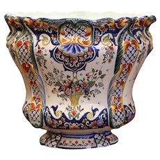 Early 20th Century, French Hand Painted Faience Planter from Normandy