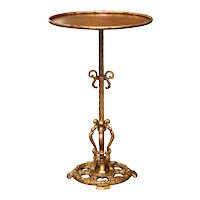 Early 20th Century French Gilt Painted Iron Pedestal Martini Side Table