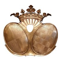 19th Century French Napoleon III Patinated Bronze Wall Hanging Family Crest
