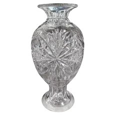 Midcentury Clear Cut Glass Vase with Foliage and Star Motifs