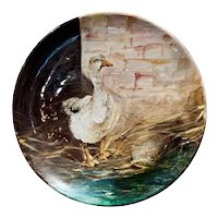 19th Century French Hand Painted Ceramic Duck Wall Platter Stamped J. Massier