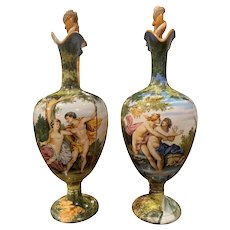 Pair of 19th Century Italian Carved Painted Ceramic Vases from Venice