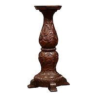 19th Century French Louis XIII Carved Walnut Pedestal Table from Normandy
