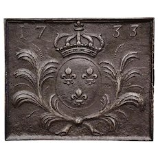 18th Century Polished Iron Fireback with Royal Coat of Arms of France