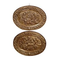 Pair of 19th Century French Repousse Copper Wall Plaques