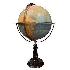Mid-19th Century French Terrestrial Globe with Brass Frame Signed Ch. Perigot