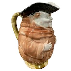 19th Century French Painted Ceramic Barbotine Monk Pitcher from Onnaing