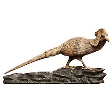 Midcentury French Patinated Bronze Pheasant Sculpture on Rocky Base