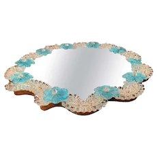 Midcentury Italian Venetian Murano Mirrored Tray Table with Floral Decor