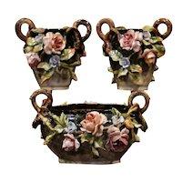 Pair of 19th Century Hand Painted Barbotine Ceramic Vases & Matching Cache-Pot