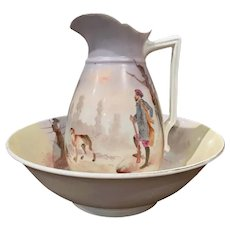 19th Century French Napoleon III Hand Painted Ceramic Wash Bowl and Pitcher