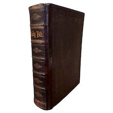 19th Century Scottish Leather-Bound and Tooling Holy Family Bible, Dated 1860