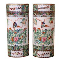 Pair Mid-20th Century Chinese Painted & Gilt Rose Medallion Porcelain Hat Stands