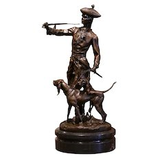 Midcentury French Bronze and Marble Hunt Sculpture Composition Signed Moreau