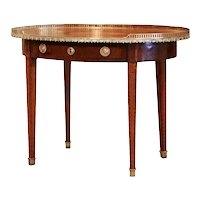 19th Century English Mahogany and Bronze Oval Side Table with Marquetry Decor