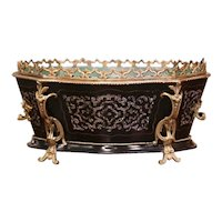 19th Century French Napoleon III Rosewood, Mother of Pearl and Bronze Jardinière
