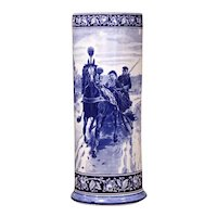 19th Century French Hand Painted Blue and White Porcelain Umbrella Stand