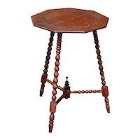 19th Century English Carved Oak Three-Leg Polygon Cricket Table