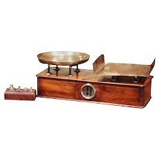19th Century French Napoleon III Walnut and Brass Scale with Set of Weights
