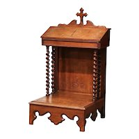 19th Century French Louis XIII Carved Oak Prie Dieu Prayer Chair