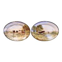 Pair of 19th Century French Limoges Painted Porcelain Cows Wall Platters