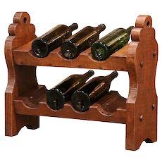 19th Century German Carved Oak Eight-Bottle Counter Wine Rack