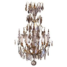 19th Century French Cut Crystal and Bronze Twelve-Light Chandelier