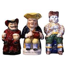 19th Century English Painted Ceramic Barbotine Pitchers – Set of Three