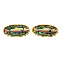 Pair of Mid-Century French Hand Painted Ceramic Barbotine Fish Wall Platters