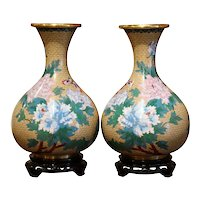 Pair of Vintage Chinese Champlevé Enamel Vases on Stand with Butterfly Motifs
