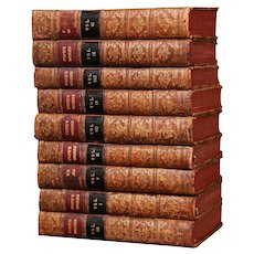 """Mid-18th Century English Leather Bound Books """"Alexander Pope's Work"""" Dated 1756"""
