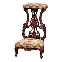 Mid-19th Century French Carved Oak Prayer Bench or Prie-Dieu with Needlepoint