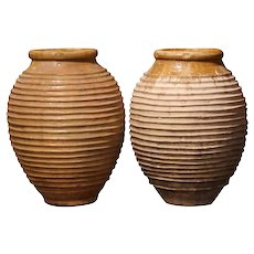 Pair of Mid-19th Century Patinated Greek Terracotta Olive Jars