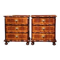 Pair of Midcentury Italian Patchwork Walnut Three-Drawer Bedside Tables