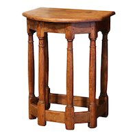 19th Century French Louis XIII Carved Oak Six-Leg Side Table or Stool