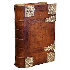 19th Century German Embossed Leather Bound Book-Form Decorative Table Box