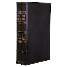 19th Century American Leather Bound Holy Bibles Dated 1822, Two Volumes