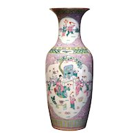 Early 20th Century Chinese Famille Rose Hand Painted Porcelain Vase