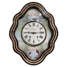 19th Century French Napoleon III Painted Wall Clock with Swan and Flamingo Decor